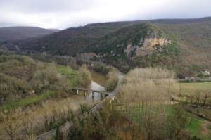 Confluence Aveyron-Vère vue depuis le château de Bruniquel